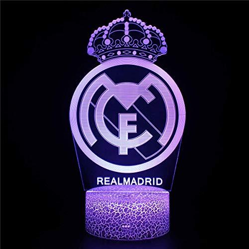 Lámpara de ilusión 3D Luz de noche Led Real Madrid Luz de noche Toma regulable 16 colores cambiantes Lámpara de escritorio táctil para niños Regalos de cumpleaños