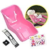 STICKY LIL FINGERS Doll Bike Seat - Doll Carrier - Durable Easy to Install Bike Attachment Accessory for 18 Inch Dolls and Stuffed Toys Secures with Lap Buckle 32 Stickers Included for DIY Decorating