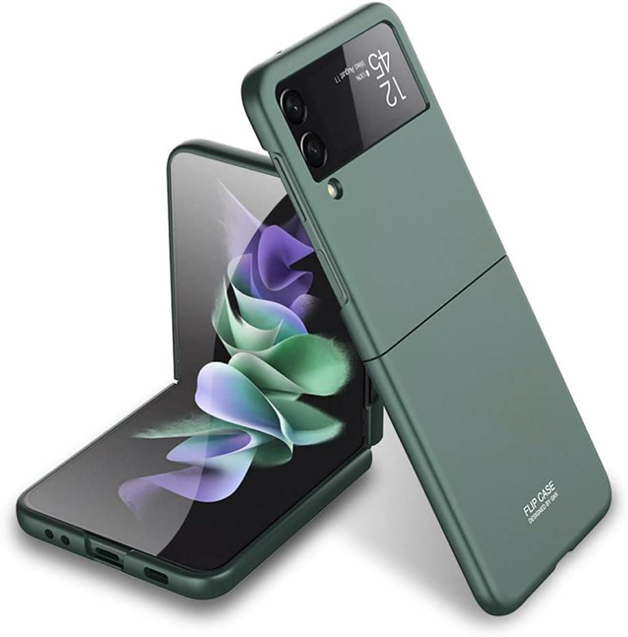 Ranyi for Samsung Galaxy Z Flip 3 5G case, Ultra Thin Matte Flip Design 360 Full Body Protection Shock Absorbing Slim Fit Flexible Hard Bumper Case for Samsung Galaxy Z Flip3 5G 2021 -Green