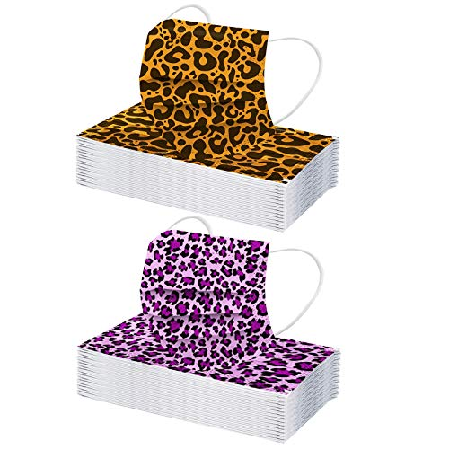JMNy Erwachsene Mundschutz Multifunktionstuch, Einweg 3-lagig Mode Leopard Gedruckt Maske, Staubdicht Atmungsaktive Vlies Mund-Nasenschutz Bandana Halstuch