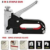 CARTSHOPPER 3-in-1 Heavy Duty Staple Gun Kit with 50pcs Staples - Hand Operated Carbon Steel Gun Tacker Tool for Upholstery, Fixing Material, Decoration, Carpentry, Furniture (Staple Gun)