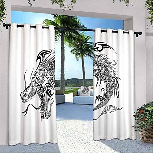 Cortinas impermeables con diseño de dragón japonés, monocromo, monstruo peligroso, fantasía, mitología, para dormitorio, sala de estar, porche, pérgola, 108 x 84 pulgadas, color negro y blanco