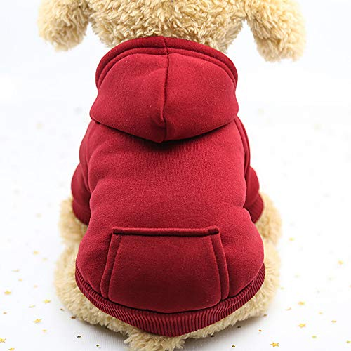 Pet Fleece Dog Hoodies, Basic Hoodie Sweater Cotton Jacket Sweatshirt Coat with Pocket for Small Medium Dog Cat (Wine Red, L)