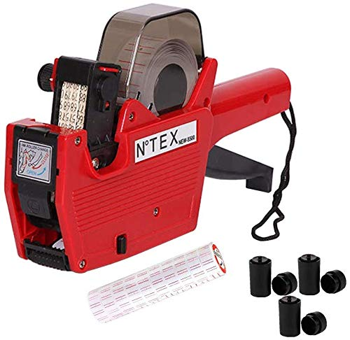New MX-5500 Price Tag Gun for Tags -Price Stickers-Expiration Date Stamp-Gun Stickers, Date Sticker Gun, 1 line Label Gun,1 Price Gun and 10 Roll Labels,and 3 Ink Wheels (Red)