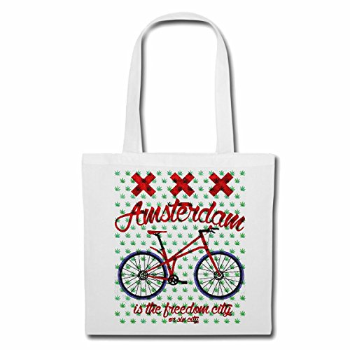 Tasche Umhängetasche Amsterdam Fahrrad Mountainbike Fahrrad Mountainbike FAHRRADREPARATUR RADRENNSPORT FAHRRADTOUR BIKESHIRT Ride Einkaufstasche Schulbeutel Turnbeutel in Weiß