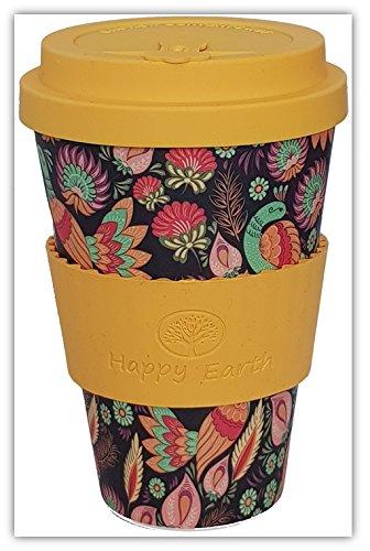 Happy Earth ASIANA (Riutilizzabile tazza da caffè Eco-Friendly 450ml, realizzata con fibra di bambù naturale biologica, può essere utilizzata come tazza da viaggio o tazza da caffè per uso domestico)