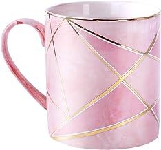 WAVEYU Taza de cerámica de mármol rosa con elegante mango decoración taza de té para niñas mujeres para regalos ideales, 1...
