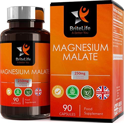 Magnesium Malat BL - Magnesiummalat [250 mg], 90 vegane Kapseln | Optimal bioeffektives Magnesium-Nahrungsergänzungsmittel für mehr Energie — Nicht abführend, ohne GVO, gluten- & milchfrei