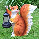 Simulated Animal Sculpture FRP Ornaments Outdoor Squirrel Solar Light Garden Grass Ornament 27x15x27cm