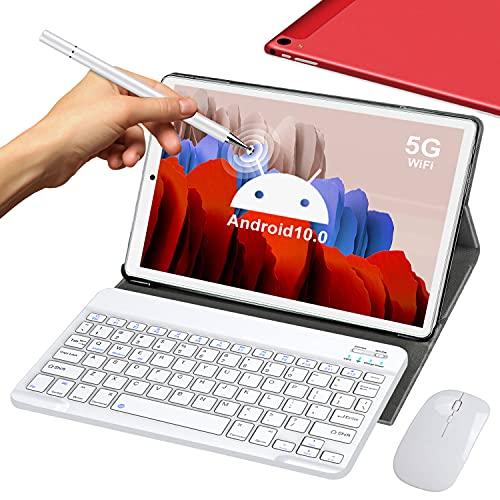 5G Tablet 10 Pollici con Wifi Offerte 4GB RAM 64GB 128GB Espandibili Android 10.0 Certificato Google GMS 1.6Ghz Tablet PC 6000mAh Bluetooth GPS Tablet Dual WiFi Versione con Tastiera e Mouse,Rosso