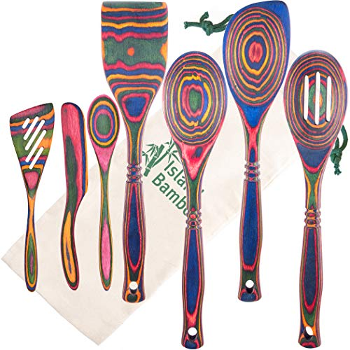 Island Bamboo Exotic Pakkawood 7-Piece Kitchen Utensil Set with Spoon, Slotted Spoon, Spatula, Corner Spoon, Small Spoon, Small Spatula, Spreader - Heat Resistant & Non-Stick Utensils