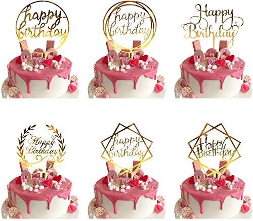 BOSSTER Buon Compleanno Torta Topper 6 Pezzi Acrilico Cupcake Topper per Festa di Compleanno Panifici Festa Decorazione