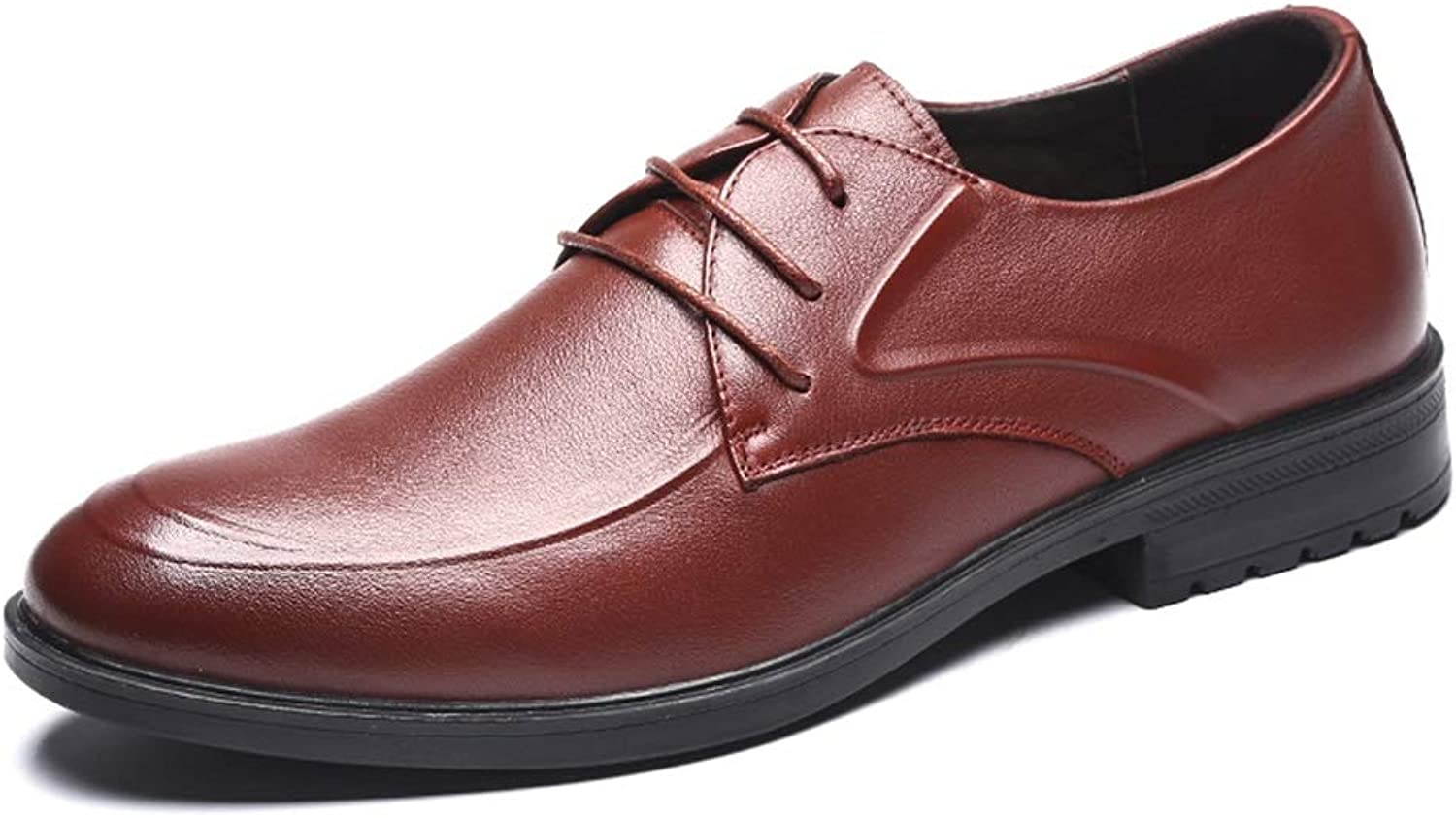LXLA- Men's Business Casual Lace Up Leather shoes Mens Formal Comfortable Dress Loafers for Men (color   Brown, Size   7 US 6 UK)