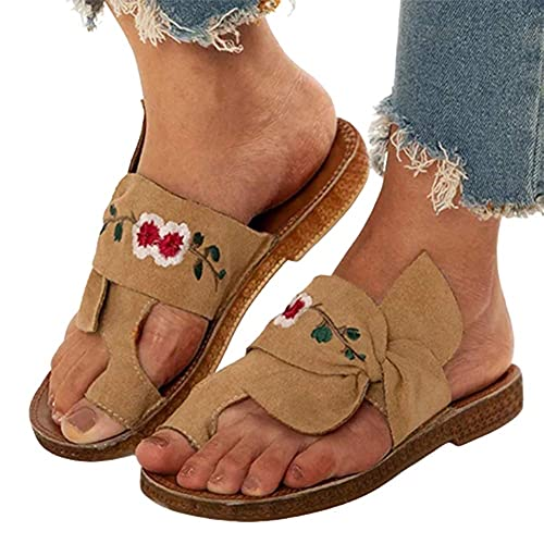 Big Toe Thone Correction Sandalias Suelas De Espeso Casual Romano Ladies Zapatillas Mujeres Corrector Ortótico Sandalias con Soporte De Arco Sistema Sisten Shoes,Marrón,35