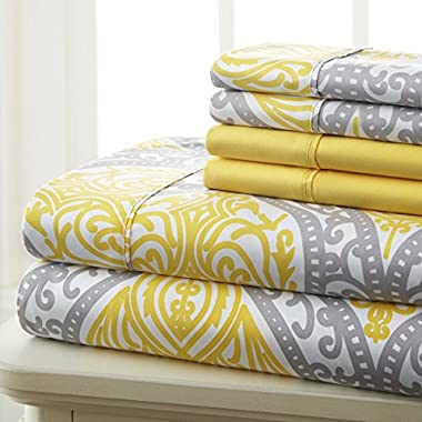 Spirit Linen Hotel 5Th Ave Prestige Home Collection 6 Piece Sheet Set, Queen, Grey Yellow Medallion