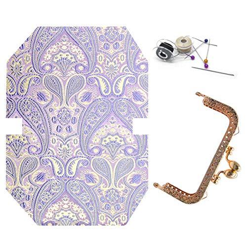 ZLYY Light Gold Metal Purse Coin Bag Frame Kiss Clasp Lock DIY Craft,Mouth Gold Wallet Material Set,Buckle Lock Wallet Handmade Material Package, Coin Purses Handmade Supplies Kit (Light Purple)