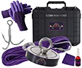 Double Sided Magnet Fishing Kit with Case - Strong Magnet for Magnet Fishing 2600 Pound Pull Neodymium Magnet for Heavy Duty Use | Includes a Durable 65 ft Rope and Carabiner, Gloves and Case