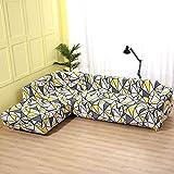 WXQY Patrón geométrico en Forma de L combinación Funda de sofá sofá Toalla Sala de Estar Todo Incluido Cubierta de sofá a Prueba de Polvo Tela A18 2 plazas