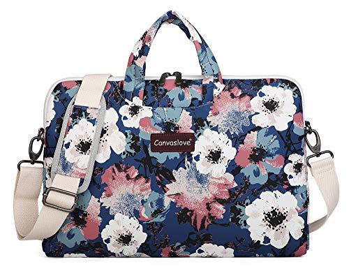 Canvaslove Watercolor Flower Pattern Canvas Laptop Shoulder Messenger Bag Case Sleeve for 14 Inch 15 Inch Laptop