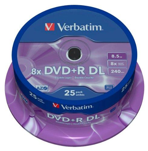Verbatim DVD+R Double Layer 8X Matt Silver 25pk Spindle 8.5GB DVD+R DL 251356- DVD+RW (8,5GB, DVD+R DL, 25÷120mm, Achse)