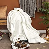 Sofila Faux Fur Throw Blanket for Adults White Mink Plush Fleece Super Soft Fuzzy Warm Cozy Gift for Couch Sofa Bed Home Decorative Luxury Elegant, Iced Fox, 50 x 60 Inches