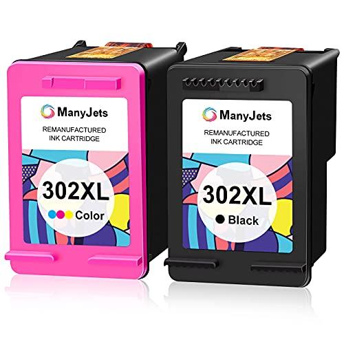 Manyjets 302XL Cartuchos de tinta para tinta HP 302 Cartucho tinta HP 302 HP 302 XL Cartuchos HP 302 para HP DeskJet 1110 3630 Envy 4520 Officejet 3830