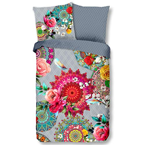 HIP Satin Wende-Bettwäsche Siara 6690 Reine Baumwolle Mandalas und Ornamente auf silberfarbenem Hintergrund mit Rosen Bettwäsche-Set für Romantiker zum Wohlfühlen 200 cm x 200 cm Rose