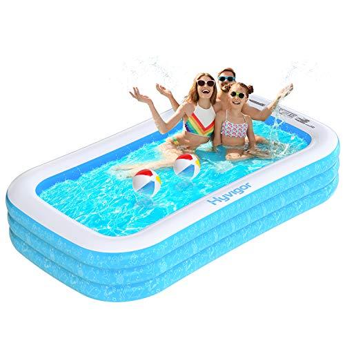 Hyvigor Familienpool, 242 * 142 * 56cm Schwimmbecken, rechteckiges Planschbecken mit 2 Bälle, aufblasbarer Pool mit Aufbewahrungstasche