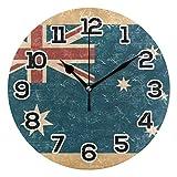 BONIPE Wanduhr im Retro-Stil, Motiv: Grunge-Flagge von Australien, geräuschlos, nicht tickend, Acryl, 24 cm, für Zuhause, Büro, Schule, r&e Uhr