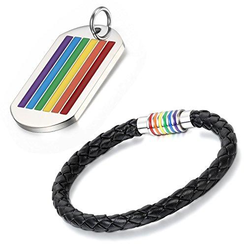 Aroncent 2PCS Herren Damen Schmuck Set, Regenbogen Rainbow Gay Pride Charms Kette Halskette Armband Armreif Armschmuck Handgelenk, Mehrfarbig