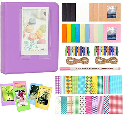 Anter Photo Album Accessories Compatible for Fujifilm Instax Mini Camera, HP Sprocket, Polaroid Zip, Snap, Snap Touch Printer Films with Film Stickers, Album & Frame - 64 Pocket,Purple
