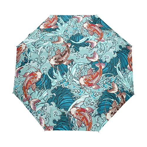 Ahomy Art - Paraguas plegable con 3 carpas Koi en olas de...