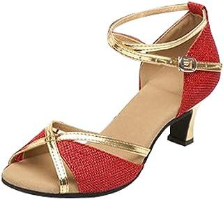 Zapatos de Baile Latino de Tacón Alto para Mujer Boca de Pescado Sandalias Romanas Fondo Suave Comodo Calzado de Danza Muj...