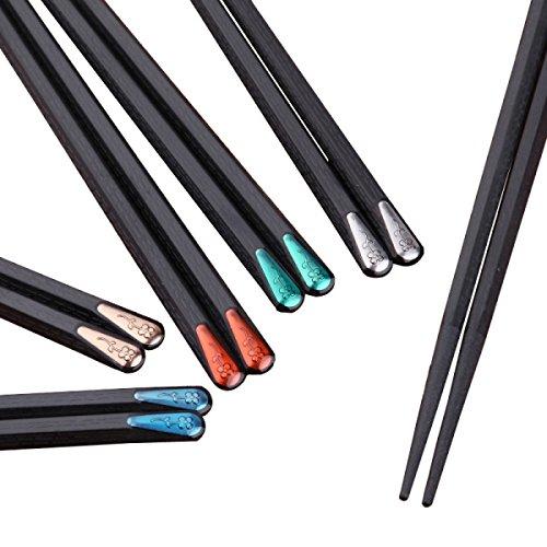 LYQZ Aleación de los Palillos de Alta Temperatura Resistente a los Hongos 10 Pares de hogar Set de los Palillos japonés Estilo Personalizado Cubiertos