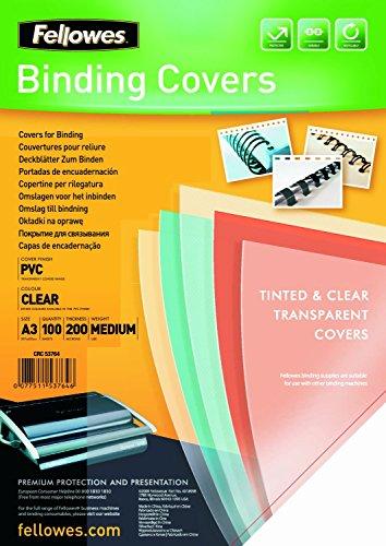 Fellowes Portadas para encuadernar de PVC transparente, formato A3, 200 micras, pack de 100, Cristal