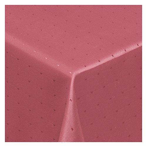 Tischdecke Stoff Damast Jacquard Textil Tischtuch Punkte Dots Points Sonderposten eckig 130x220 cm in Alt-Rosa