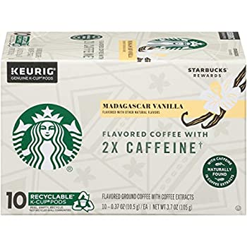 Starbucks Flavored K-Cup Coffee Pods with 2X Caffeine — Madagascar Vanilla for Keurig Brewers — 1 box  10 pods
