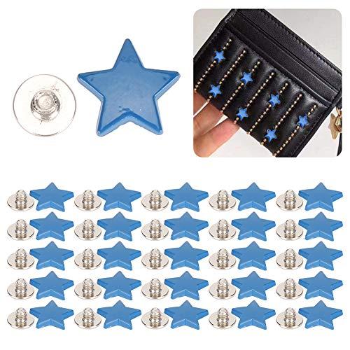 Botón de Perno Prisionero Exquisito Que suaviza Seguro, Remache en Forma de Estrella, para Ropa de Zapatos(Blue)