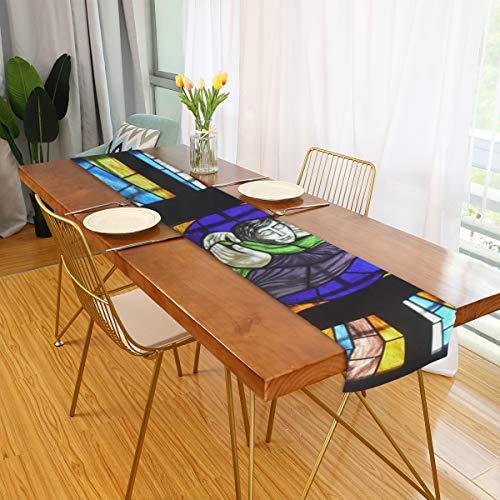 FANTAZIO Buntglas-Fenster-Fahne, Tischdecke, Tischdecke, Tischflagge, Tischflagge, Tischflagge, Bettflagge, Polyester, 1, 13x90(in)