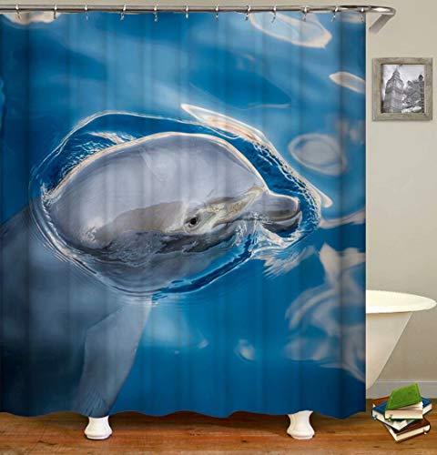ZZZdz Netter Delphin. Duschvorhang: 180 X 180 cm. Wasserdichter Stoffteppich Für Duschvorhang. Bad Duschvorhang Set Polyesterfaser Bad Duschvorhang.