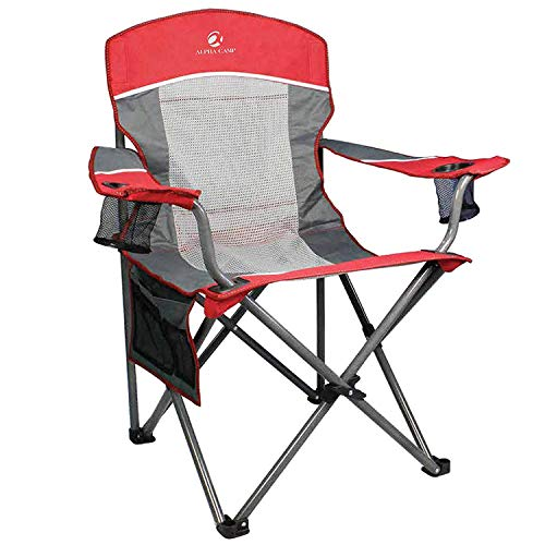 ALPHA CAMP Oversized Mesh Back Camping Folding Chair Heavy Duty Support 350 LBS Collapsible Steel Frame Quad Chair Padded Arm Chair with Cup Holder Portable for Outdoor (Red/Grey)