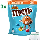 m&m salted caramel limited Edition 3er Pack (3x300g Beutel) plus usy Block -