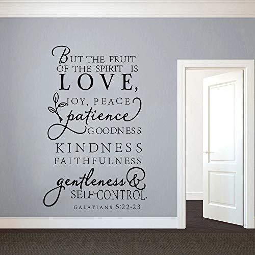 Palabras de diseño de pegatina de pared de vinilo de frutas espirituales de la Biblia   Arte de pared de utensilios de cocina en la decoración del refrigerador del restaurante de la cocina