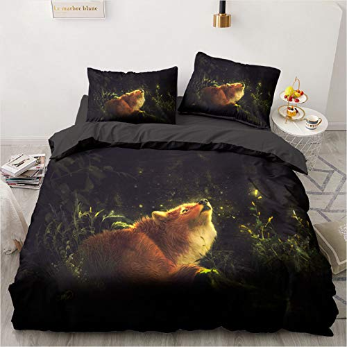 Mscomft - Juego de cama infantil, diseño de zorro, estampado, microfibra, fundas de edredón con fundas de almohada, para niña, niño (08,King, 220 x 240 cm)