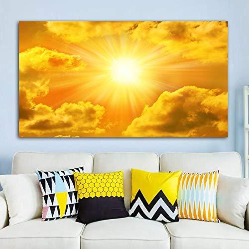 wZUN Cielo Nube Sol Imagen Paisaje Lienzo Pintura Pared Arte Imagen Sala de Estar Dormitorio Comedor decoración 60x105 Sin Marco