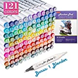 121 Colors Dual Tip Alcohol Based Art Markers,120 Colors plus 1 Blender Permanent Marker 1 Marker Pad with Case Perfect for Kids Adult Coloring Books Sketching Card Making