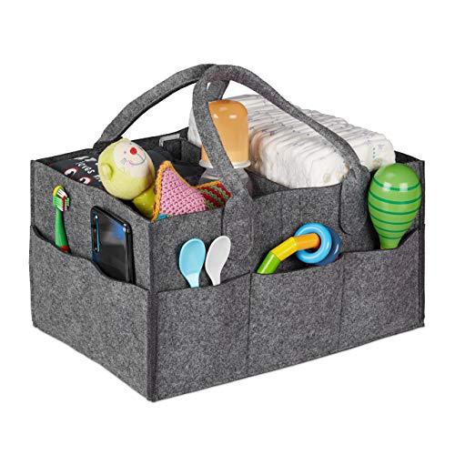 Relaxdays Organizador de pañales para bebé, 11 Compartimentos, separadores extraíbles, portátil, Bolsa de Fieltro para Coche, Color Gris Oscuro
