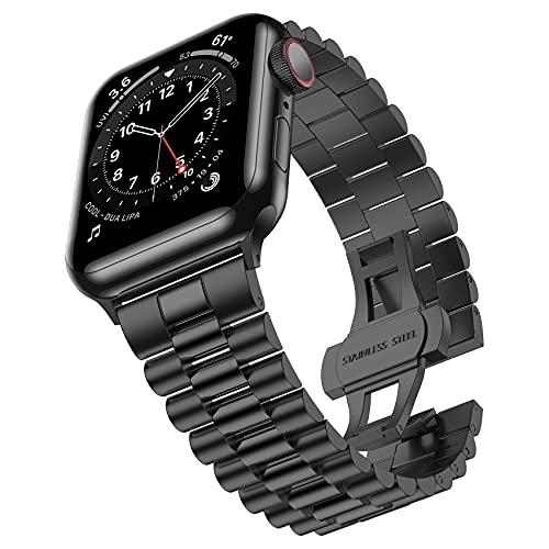 Compatible con Apple Watch Band 40 mm 38 mm, iWatch SE & Series 6 5 4 3 2 1 correa de acero inoxidable con cierre de mariposa plegable para mujer