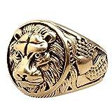 Shanxia Anillo de Seguridad Vintage Punk Jewelry Domineering Cabeza de león de Acero y Titanio Fundido Anillo de león (Ninguno 7 910/7幸运赛车)