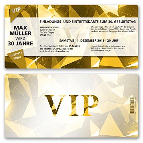 (20 x) Einladungskarten Geburtstag VIP Party Edel Gold Ticket Karte Einladungen